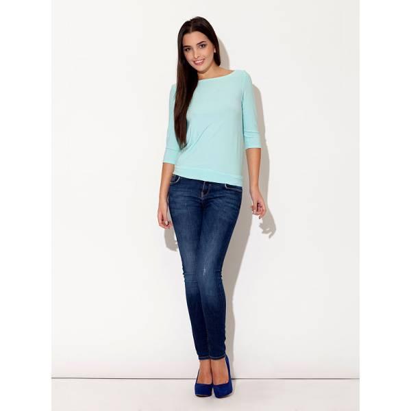 KATRUS дамска блуза със 7/8 ръкав и обло деколте