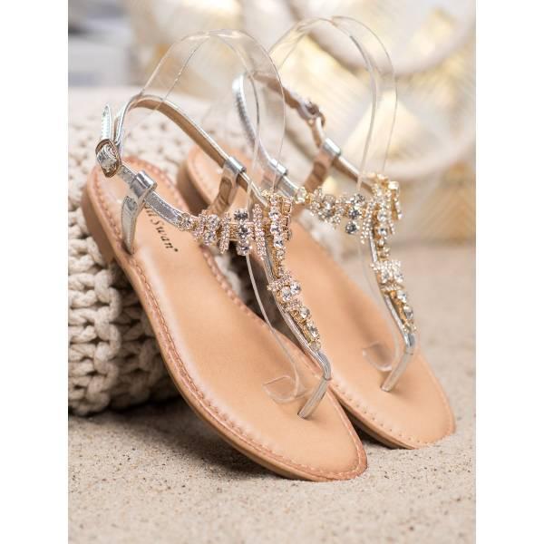 SMALL SWAN дамски ниски сандали с камъни
