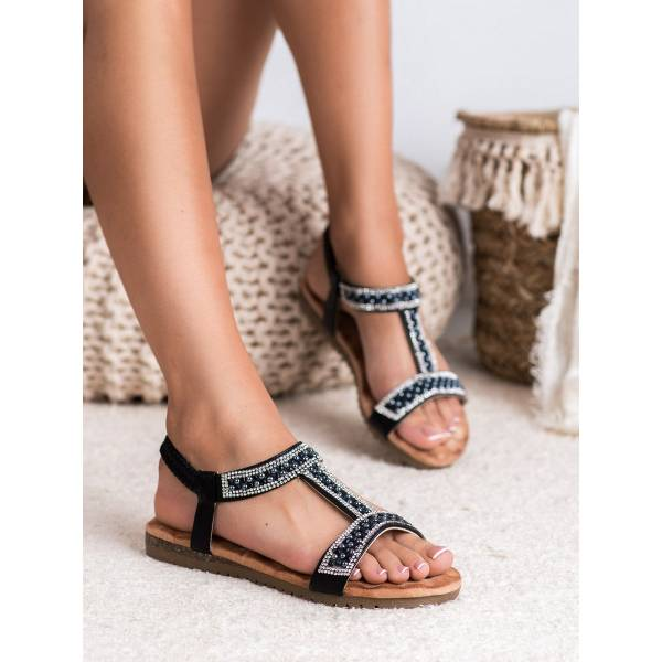 EMAKS дамски ниски сандали с камъни