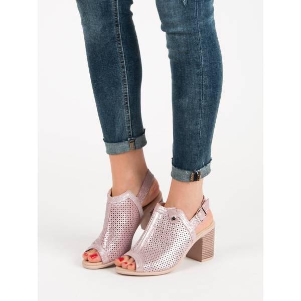 FILIPPO дамски сандали с ток и лазерна перфорация