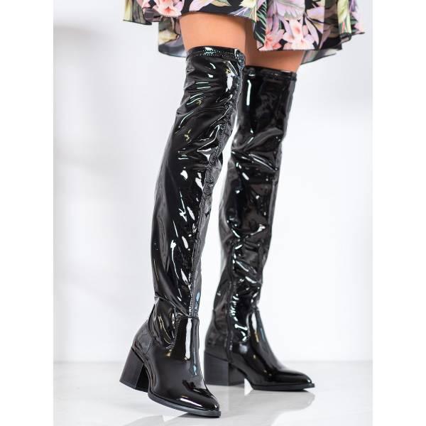 SEASTAR дамски лачени чизми с ток