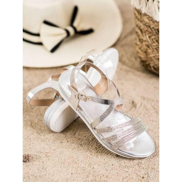 SHELOVET дамски ниски сандали с камъни